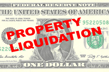 liquidation: Render illustration of PROPERTY LIQUIDATION title on One Dollar bill as a background