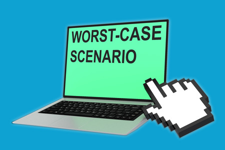 disaster preparedness: 3D illustration of WORST-CASE SCENARIO script with pointing hand icon pointing at the laptop screen