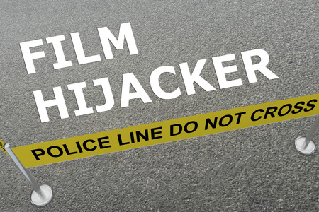film title: 3D illustration of FILM HIJACKER title on the ground in a police arena Stock Photo