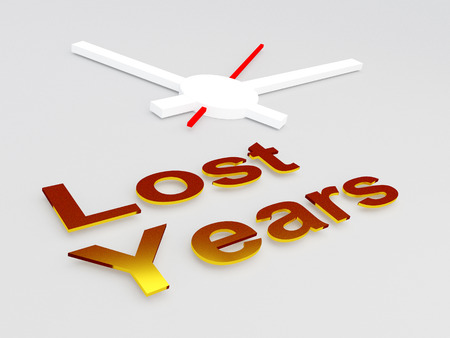 3D illustration of Lost Years title with a clock as a background