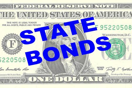 bonds: Render illustration of STATE BONDS title on One Dollar bill as a background