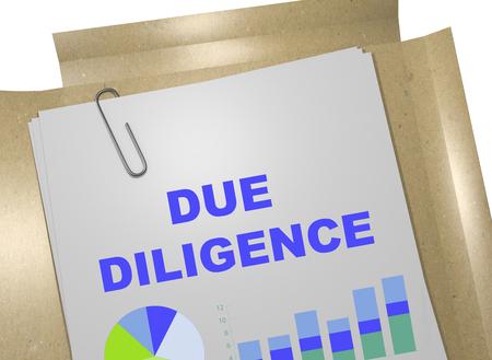 diligence: 3D illustration of DUE DILIGENCE title on business document