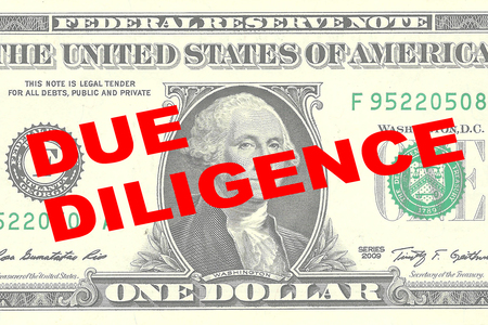 diligence: Render illustration of DUE DILIGENCE title on One Dollar bill as a background