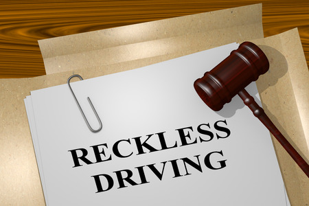 3D illustration of RECKLESS DRIVING title on legal document