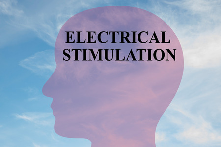 stimulation: Render illustration of ELECTRICAL STIMULATION title on head silhouette, with cloudy sky as a background.