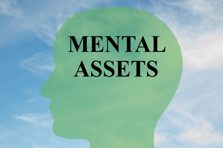 Render illustration of MENTAL ASSETS script on head silhouette, with cloudy sky as a background.