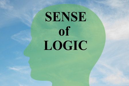 lucidity: Render illustration of SENSE of LOGIC script on head silhouette, with cloudy sky as a background.