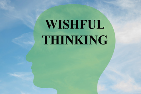 wishful: Render illustration of WISHFUL THINKING script on head silhouette, with cloudy sky as a background. Stock Photo