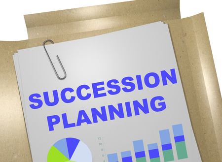 3D illustration of SUCCESSION PLANNING title on business document