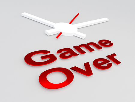 3D illustration of Game Over title with a clock as a background Stock Photo