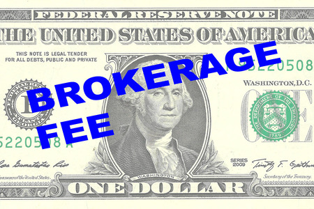 brokerage: Render illustration of BROKERAGE FEE title on One Dollar bill as a background Stock Photo