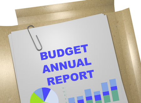 3D illustration of BUDGET ANNUAL REPORT title on business document Stock Photo