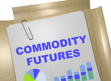 futures: 3D illustration of COMMODITY FUTURES title on business document