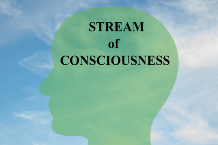 consciousness: Render illustration of STREAM of CONSCIOUSNESS script on head silhouette, with cloudy sky as a background. Stock Photo