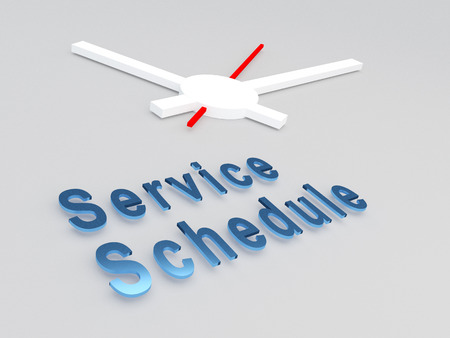 3D illustration of Service Schedule title with a clock as a background
