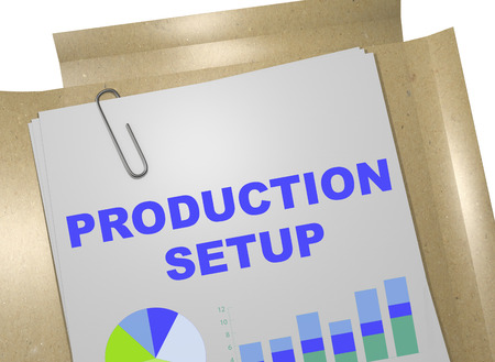 operative: 3D illustration of PRODUCTION SETUP title on business document Stock Photo