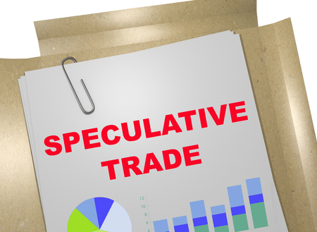 speculative: 3D illustration of SPECULATIVE TRADE title on business document Stock Photo