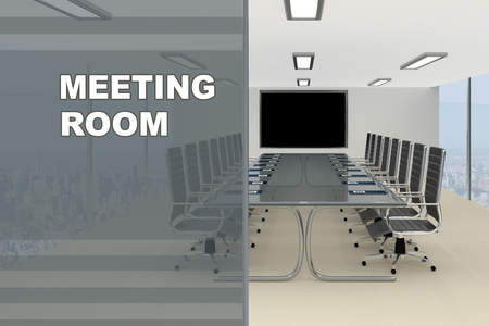 compartment: 3D illustration of MEETING ROOM title on a glass compartment