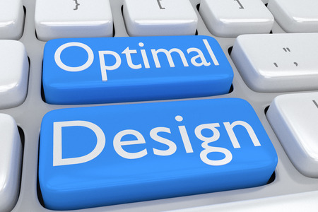 3D illustration of computer keyboard with the script Optimal Design on two adjacent pale blue buttons Stock Photo