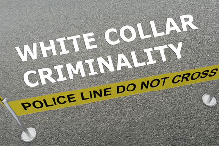 white collar: 3D illustration of WHITE COLLAR CRIMINALITY title on the ground in a police arena