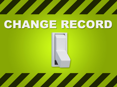 3D illustration of CHANGE RECORD title above an electric switch on green wall