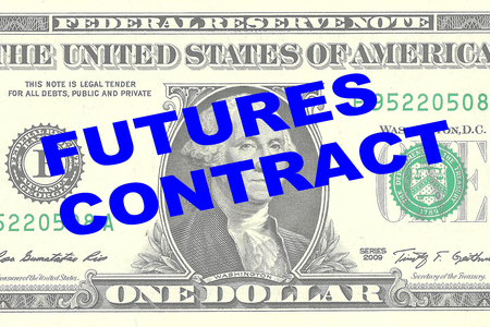 futures: Render illustration of FUTURES CONTRACT title on One Dollar bill as a background
