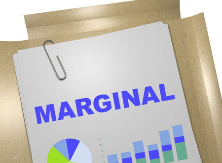 marginal: 3D illustration of MARGINAL title on business document Stock Photo