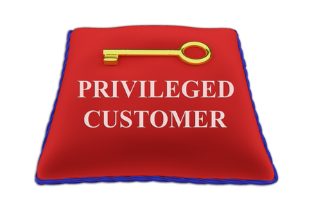 privileged: 3D illustration of PRIVILEGED CUSTOMER Title on red velvet pillow near a golden key, isolated on white. Stock Photo