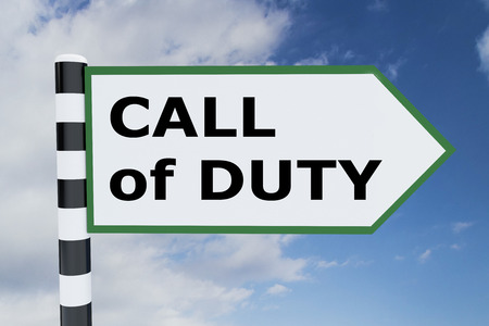 delegation: 3D illustration of CALL of DUTY script on road sign Stock Photo