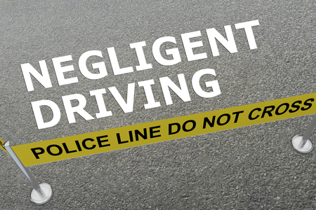 inattention: 3D illustration of NEGLIGENT DRIVING title on the ground in a police arena