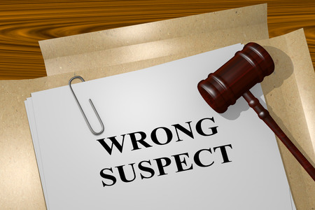 polygraph: 3D illustration of WRONG SUSPECT title on legal document