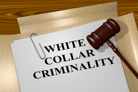 white collar: 3D illustration of WHITE COLLAR CRIMINALITY title on legal document Stock Photo