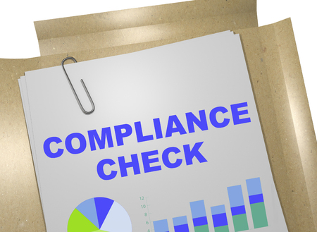 compliance: 3D illustration of COMPLIANCE CHECK title on business document