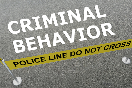 scandalous: 3D illustration of CRIMINAL BEHAVIOR title on the ground in a police arena