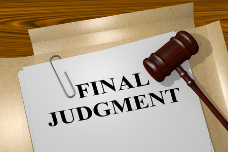 sue: 3D illustration of FINAL JUDGMENT title on legal document