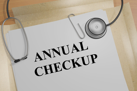 checkup: 3D illustration of ANNUAL CHECKUP title on a medical document