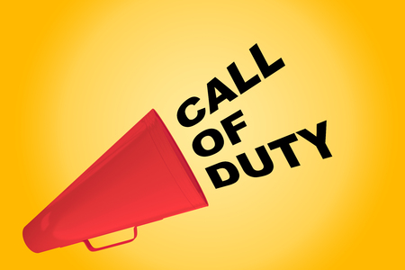 3D illustration of CALL OF DUTY title flowing from a loudspeaker