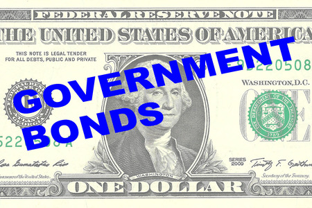 bonds: Render illustration of GOVERNMENT BONDS title on One Dollar bill as a background Stock Photo