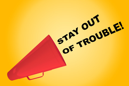 3D illustration of STAY OUT OF TROUBLE! title flowing from a loudspeaker Stock Photo