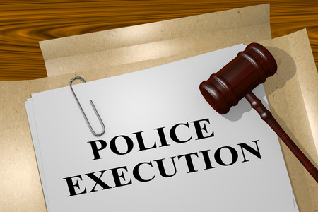 burglar proof: 3D illustration of POLICE EXECUTION title on legal document Stock Photo