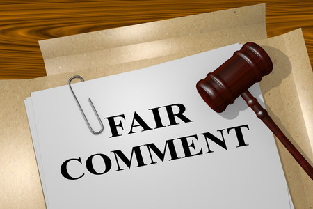 good judgment: 3D illustration of FAIR COMMENT title on legal document Stock Photo