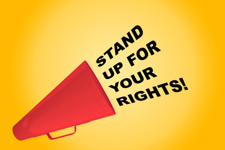 3D illustration of STAND UP FOR YOUR RIGHTS! title flowing from a loudspeaker Stock Photo
