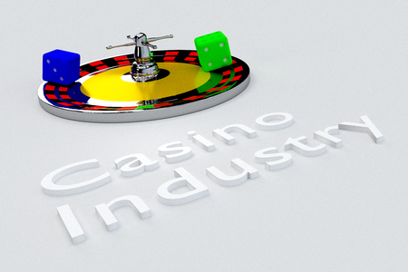 online roulette: 3D illustration of Casino Industry title written in embossed letters, with two dice. Stock Photo