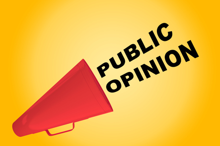 public opinion: 3D illustration of PUBLIC OPINION title flowing from a loudspeaker Stock Photo