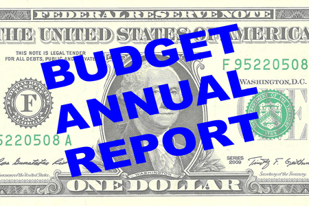 dividend: Render illustration of BUDGET ANNUAL REPORT title on One Dollar bill as a background Stock Photo