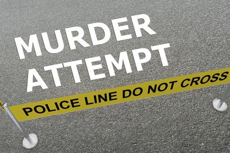 3D illustration of MURDER ATTEMPT title on the ground in a police arena