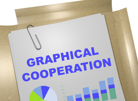 3D illustration of GRAPHICAL COOPERATION title on business document