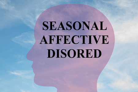 teary: Render illustration of SEASONAL AFFECTIVE DISORED title on head silhouette, with cloudy sky as a background. Stock Photo