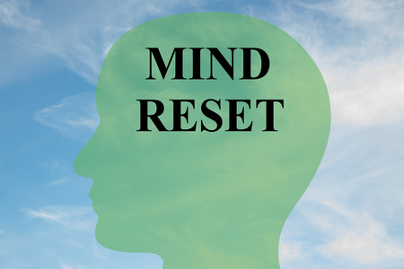Render illustration of MIND RESET script on head silhouette, with cloudy sky as a background. Imagens