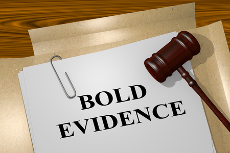 clarify: 3D illustration of BOLD EVIDENCE title on legal document Stock Photo